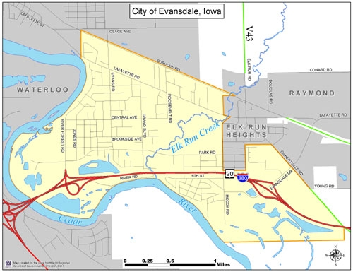 City Map - City of Evansdale City Map Of Iowa on